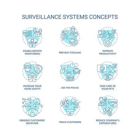 Surveillance system benefit concept icons set. Private and public safety. Stealing prevention. Security cameras abstract idea thin line illustration. Vector isolated outline drawings. Editable stroke