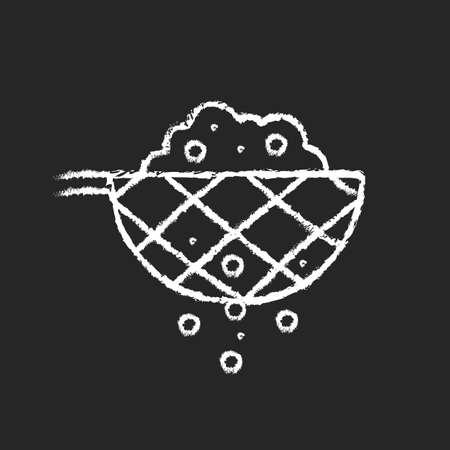 Sift cooking ingredient chalk white icon on dark background. Pass flour through mesh utensil. Domestic sieve. Cooking instruction. Food preparation. Isolated vector chalkboard illustration on black