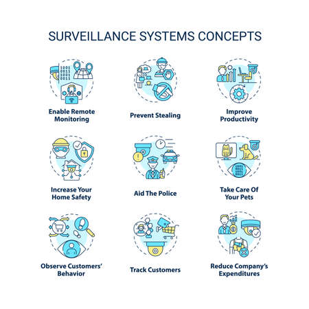Surveillance systems concept icons set. Home, business and shopping security cameras abstract idea thin line illustration. Stealing prevention. Vector isolated outline drawings. Editable stroke Vecteurs