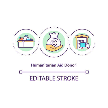 Humanitarian aid donor concept icon. Civil protections operations and voluntary programs abstract idea thin line illustration. Vector isolated outline color drawing. Editable stroke