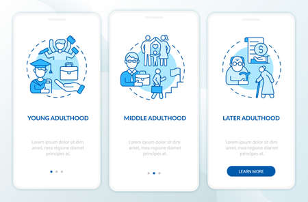 Adult life cycle onboarding mobile app page screen. Personal realization walkthrough 3 steps graphic instructions with concepts. UI, UX, GUI vector template with linear color illustrations Vetores