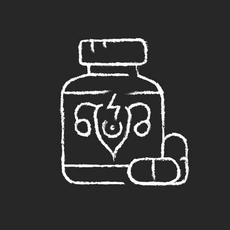 Pills for period cramps chalk white icon on dark background. Relieve painful menstruation. Anti-inflammatory drug. Calming abdominal cramping. Isolated vector chalkboard illustration on black