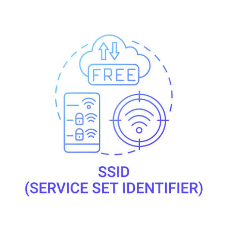 Set service identifier gradient blue concept icon. Unique name of network abstract idea thin line illustration. Sequence of characters to identify network. Vector isolated outline color drawing.