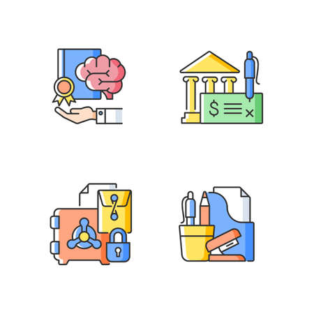 Corporate intellectual property RGB color icons set. Bank draft, trade secrets. Company safety. Risk prevention. Office supplies. Isolated vector illustrations. Simple filled line drawings collection