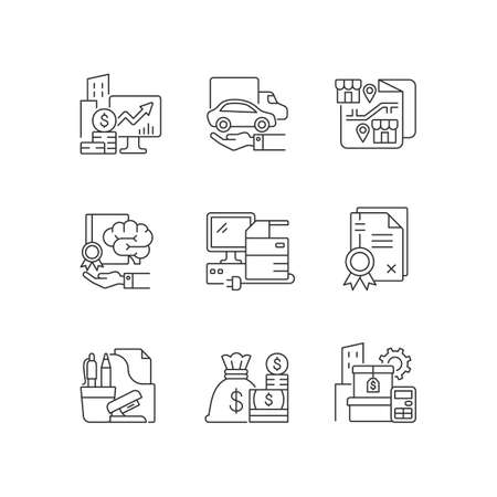 Office supplies and technical equipment linear icons set. Company owned vehicles. Customizable thin line contour symbols. Corporate intellectual. Isolated vector outline illustrations. Editable stroke