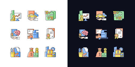 Office supplies and technical equipment light and dark theme RGB color icons set. Company owned vehicles. Isolated vector illustrations on white and black space. Simple filled line drawings pack