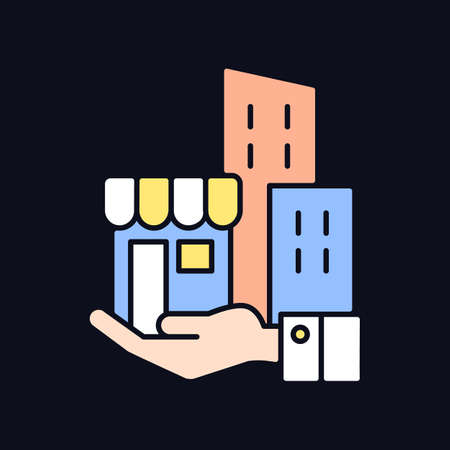 Building ownership RGB color icon for dark theme. Real estate business. Private property. Company assets. Isolated vector illustration on night mode background. Simple filled line drawing on black Vektoros illusztráció