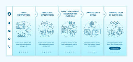 Challenges of startup onboarding vector template. Fierce competition. Responsive mobile website with icons. Web page walkthrough 5 step screens. Business color concept with linear illustrations