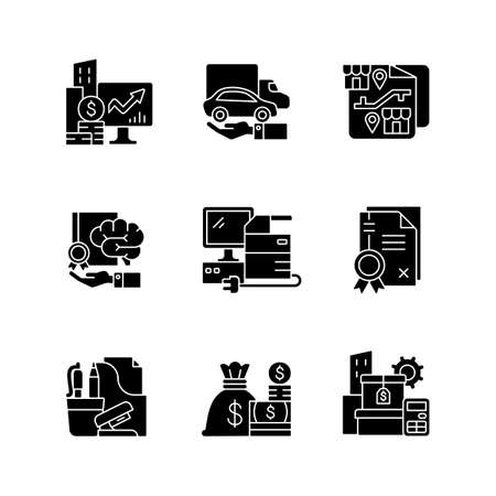 Office supplies and technical equipment black glyph icons set on white space. Franchising. Corporate intellectual property. Company owned vehicles. Silhouette symbols. Vector isolated illustration Vettoriali
