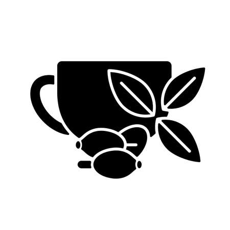 Rosehip tea black glyph icon. Briar tea benefits. Beverage improves immunity and heart health. Herbal drink rich in antioxidants. Silhouette symbol on white space. Vector isolated illustration Vettoriali