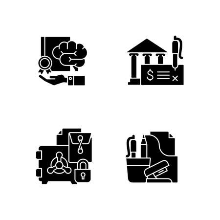 Corporate intellectual property black glyph icons set on white space. Bank draft and trade secrets. Company safety. Risk prevention. Office supplies. Silhouette symbols. Vector isolated illustration