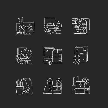 Office supplies and technical equipment chalk white icons set on dark background. Franchise. Corporate intellectual property. Company owned vehicles. Isolated vector chalkboard illustrations on black