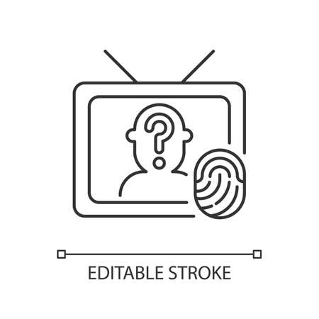 Online investigation show linear icon. True crime series. Suspense cinema genre on TV channel. Thin line customizable illustration. Contour symbol. Vector isolated outline drawing. Editable stroke
