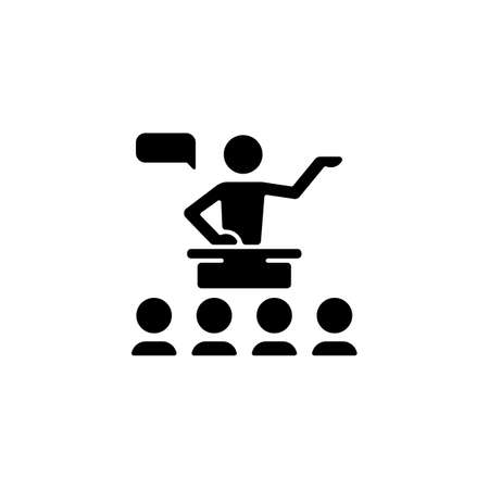 Public communication black glyph icon. Sharing information to audience. Conferences, seminars. Engaging in dialogue. Public speaking. Silhouette symbol on white space. Vector isolated illustration