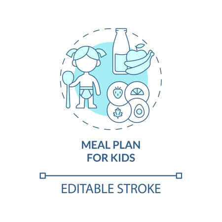 Meal plan for kids blue concept icon. Healthy foods for kids abstract idea thin line illustration. Balanced and healthy diet for children. Vector isolated outline color drawing. Editable stroke