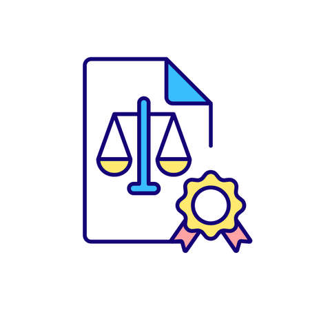 Legal certificate RGB color icon. Employment contract. Rights and allowance for mother of newborn. Work agreement. Maternity leave. Isolated vector illustration. Simple filled line drawing