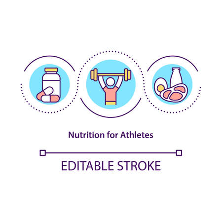 Nutrition for athletes concept icon. Sport diet abstract idea thin line illustration. Healthy menu for sportsmen. Dietary supplements. Vector isolated outline color drawing. Editable stroke Vetores