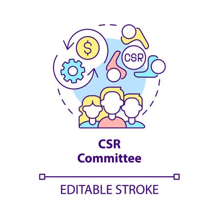 CSR committee concept icon. Board of directors abstract idea thin line illustration. Corporate social responsibility. Finance management. Vector isolated outline color drawing. Editable stroke