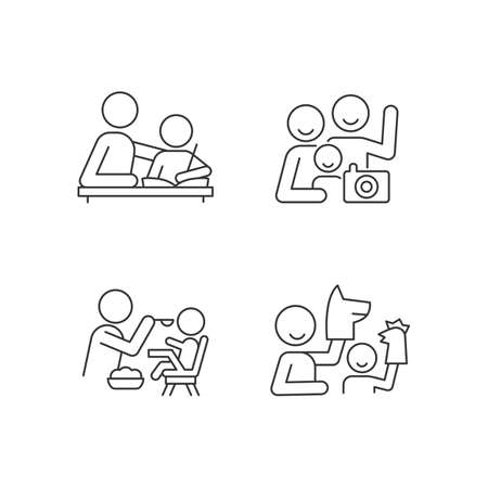 Effective parenting style linear icons set. Helping with homework. Family portrait. Feeding in highchair. Customizable thin line contour symbols. Isolated vector outline illustrations. Editable stroke