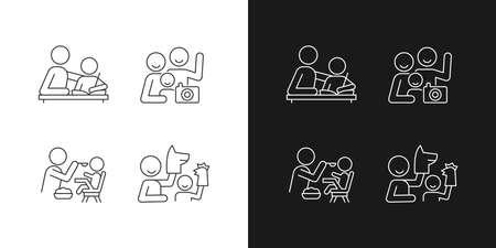 Effective parenting style linear icons set for dark and light mode. Helping with homework. Family portrait. Customizable thin line symbols. Isolated vector outline illustrations. Editable stroke
