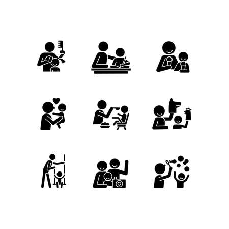 Bonding activity black glyph icons set on white space. Braiding pigtails. Help with homework. Kissing child. Family photo. Blow bubbles. Puppetry. Silhouette symbols. Vector isolated illustration