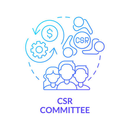 CSR committee blue gradient concept icon. Board of directors abstract idea thin line illustration. Corporate social responsibility. Finance management. Vector isolated outline color drawing. Vecteurs