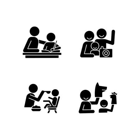Effective parenting style black glyph icons set on white space. Helping with homework. Family portrait. Feeding in highchair. Playing with puppets. Silhouette symbols. Vector isolated illustration Ilustración de vector