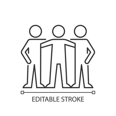 Affiliate motivation linear icon. Desire to belong to group. Achieve work goal with coworkers. Thin line customizable illustration. Contour symbol. Vector isolated outline drawing. Editable stroke