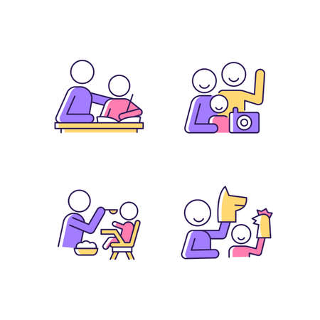 Effective parenting style RGB color icons set. Helping with homework. Family portrait. Feeding in highchair. Playing with puppets. Isolated vector illustrations. Simple filled line drawings collection Ilustración de vector