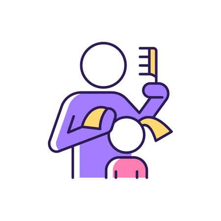 Braiding daughter pigtails RGB color icon. Bonding experience. Brushing child hair. Developing closeness. Hair combing, styling. Daily routine. Isolated vector illustration. Simple filled line drawing