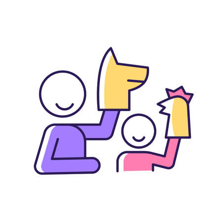 Playing with puppets RGB color icon. Teaching kid about emotions. Puppetry theater. Entertainment for child. Engaging in theatrical show. Isolated vector illustration. Simple filled line drawing