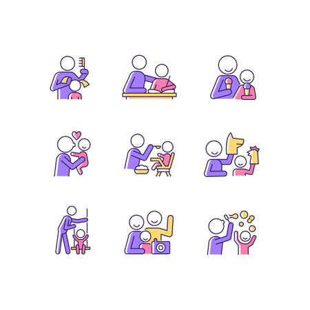 Bonding activity RGB color icons set. Braiding pigtails. Help with homework. Kissing child. Family photo. Blow bubbles. Puppetry. Isolated vector illustrations. Simple filled line drawings collection