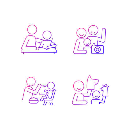 Effective parenting style gradient linear vector icons set. Helping with homework. Family portrait. Feeding in highchair. Thin line contour symbols bundle. Isolated outline illustrations collection