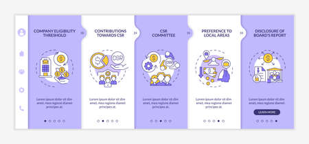 Corporate social responsibility basics onboarding vector template. Responsive mobile website with icons. Web page walkthrough 5 step screens. Color concept with linear illustrations