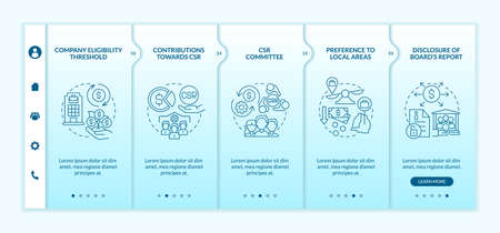 Corporate social responsibility basics blue gradient onboarding vector template. Responsive mobile website with icons. Web page walkthrough 5 step screens. Color concept with linear illustrations