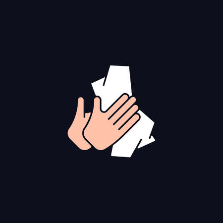 Dry hands with tissue RGB color icon for dark theme. Wiping off dirt from palms. Using antibacterial wipes. Isolated vector illustration on night mode background. Simple filled line drawing on black