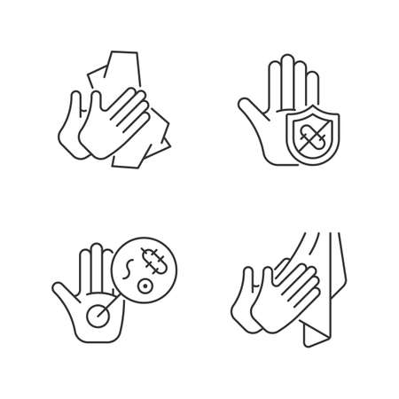 Infection prevention linear icons set. Wiping off dirt, germs. Dry hands with towel. Microbes protection. Customizable thin line contour symbols. Isolated vector outline illustrations. Editable stroke Vecteurs