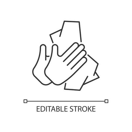 Dry hands with tissue linear icon. Wiping off dirt and germs from palms. Use antibacterial wipes. Thin line customizable illustration. Contour symbol. Vector isolated outline drawing. Editable stroke Vecteurs