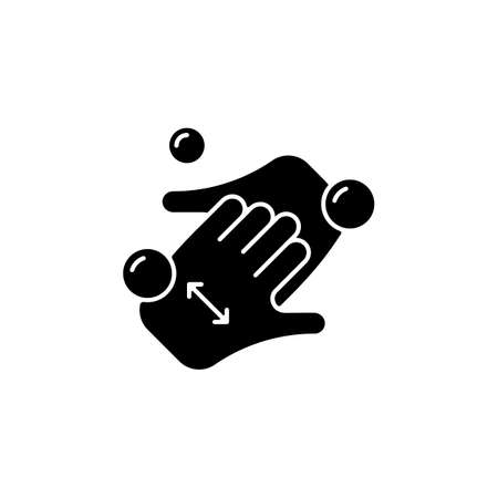 Cup fingers black glyph icon. Cleaning hands and nails with soap. Handwashing technique. Wipe off dirt under fingernails. Silhouette symbol on white space. Vector isolated illustration