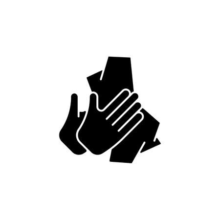 Dry hands with tissue black glyph icon. Wiping off dirt and germs from palms. Use antibacterial wipes. Remove microorganisms from hands. Silhouette symbol on white space. Vector isolated illustration