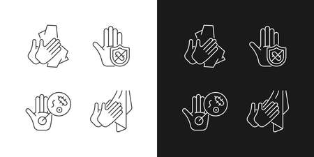 Infection prevention linear icons set for dark and light mode. Wiping off dirt, germs. Dry hands with towel. Customizable thin line symbols. Isolated vector outline illustrations. Editable stroke Vecteurs