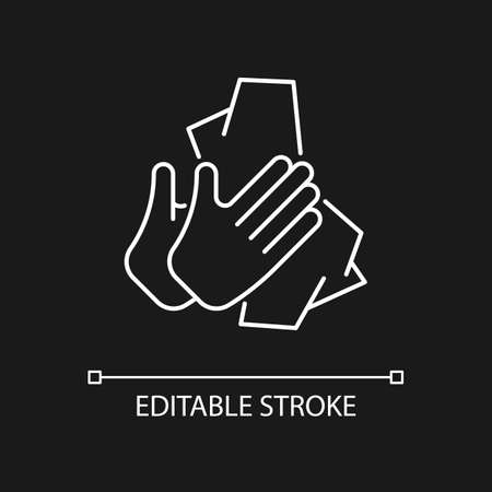 Dry hands with tissue white linear icon for dark theme. Wiping off dirt and germs from palms. Thin line customizable illustration. Isolated vector contour symbol for night mode. Editable stroke Vecteurs