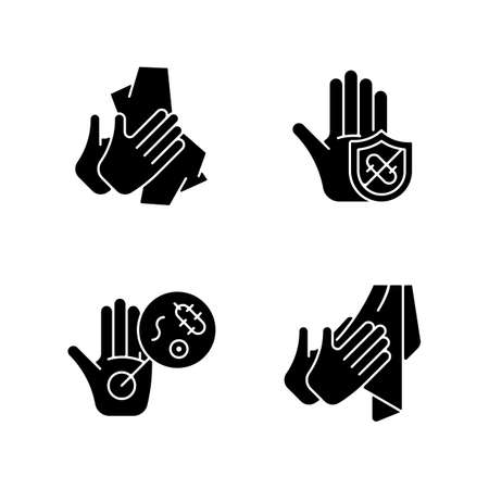 Infection prevention black glyph icons set on white space. Wiping off dirt and germs. Dry hands with towel. Microbes protection. Unwashed hands. Silhouette symbols. Vector isolated illustration