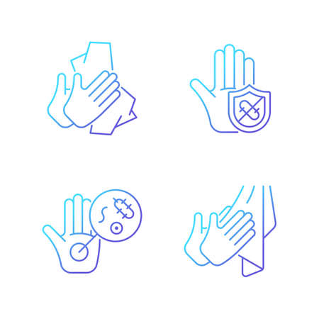 Infection prevention gradient linear vector icons set. Wiping off dirt, germs. Dry hands with towel. Microbes protection. Thin line contour symbols bundle. Isolated outline illustrations collection Vecteurs