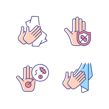 Infection prevention RGB color icons set. Wiping off dirt and germs. Dry hands with towel. Microbes protection. Unwashed hands. Isolated vector illustrations. Simple filled line drawings collection Vecteurs