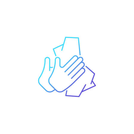 Dry hands with tissue gradient linear vector icon. Wiping off dirt and germs from palms. Use antibacterial wipes. Thin line color symbol. Modern style pictogram. Vector isolated outline drawing