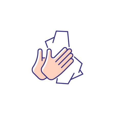 Dry hands with tissue RGB color icon. Wiping off dirt and germs from palms. Using antibacterial wipes. Removing microorganisms from hands. Isolated vector illustration. Simple filled line drawing