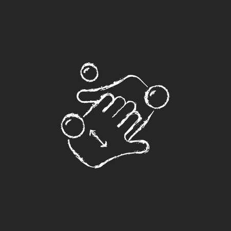 Cup fingers chalk white icon on dark background. Cleaning hands and nails with soap. Handwashing technique. Wipe off dirt under fingernails. Isolated vector chalkboard illustration on black