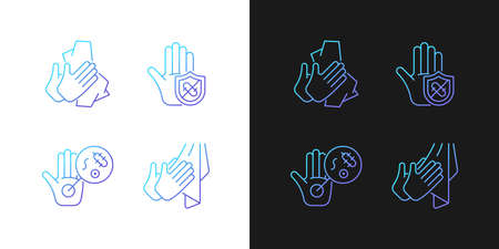 Infection prevention gradient icons set for dark and light mode. Wiping off dirt, germs. Thin line contour symbols bundle. Isolated vector outline illustrations collection on black and white