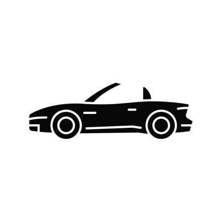 Convertible car black glyph icon. Cabriolet with retractable roof. Open top car driving experience. Two-door sports vehicle. Silhouette symbol on white space. Vector isolated illustration